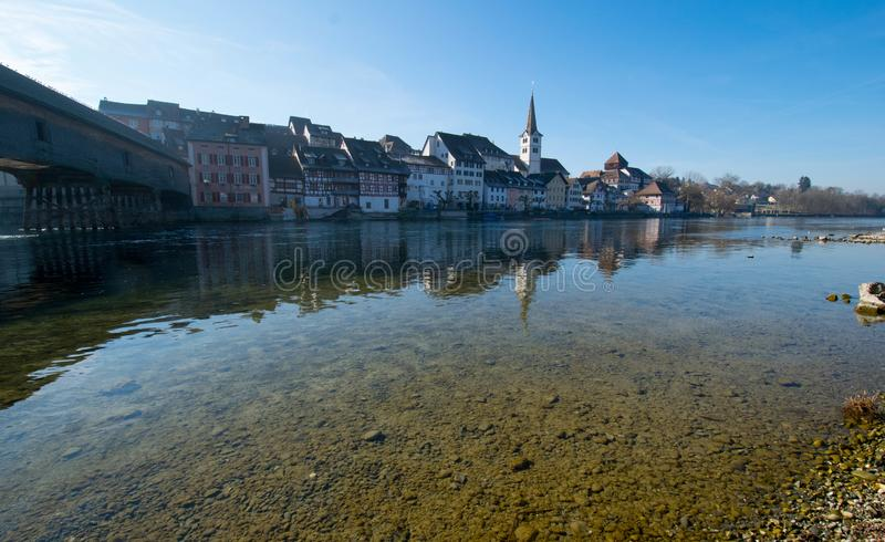 莱茵河的迪森霍芬在瑞士 库存图片