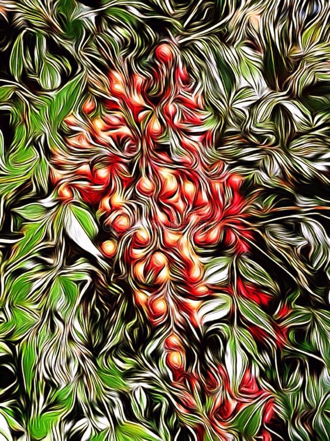 莓果照片在灌木的编辑与油漆刷应用 免版税图库摄影