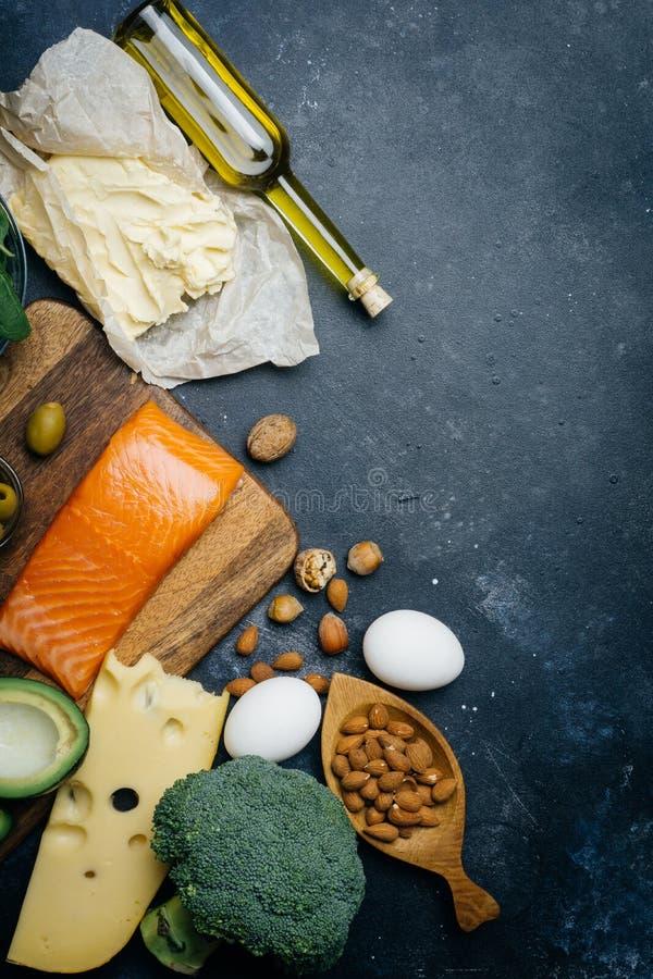 能转化为酮的饮食 低气化器高度肥胖产品 健康吃食物,膳食计划蛋白质油脂 健康营养 Keto午餐 免版税库存图片