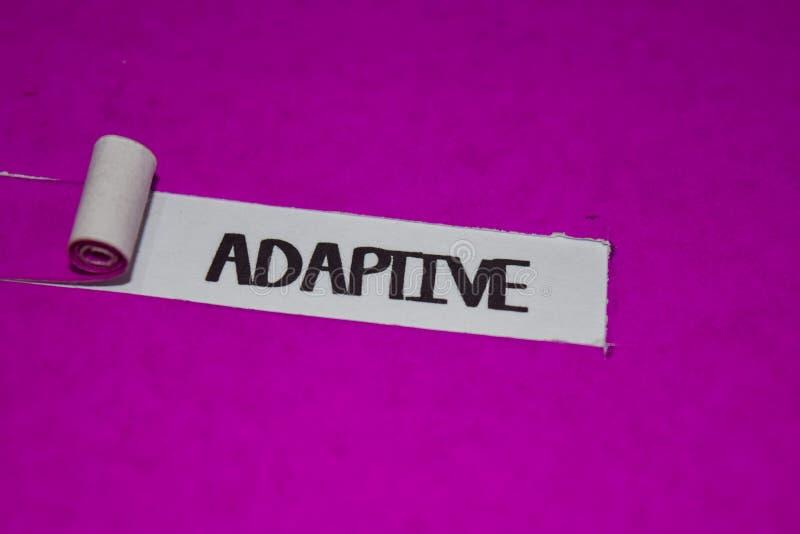 能适应的文本、启发和正面震动概念在紫色被撕毁的纸 库存照片