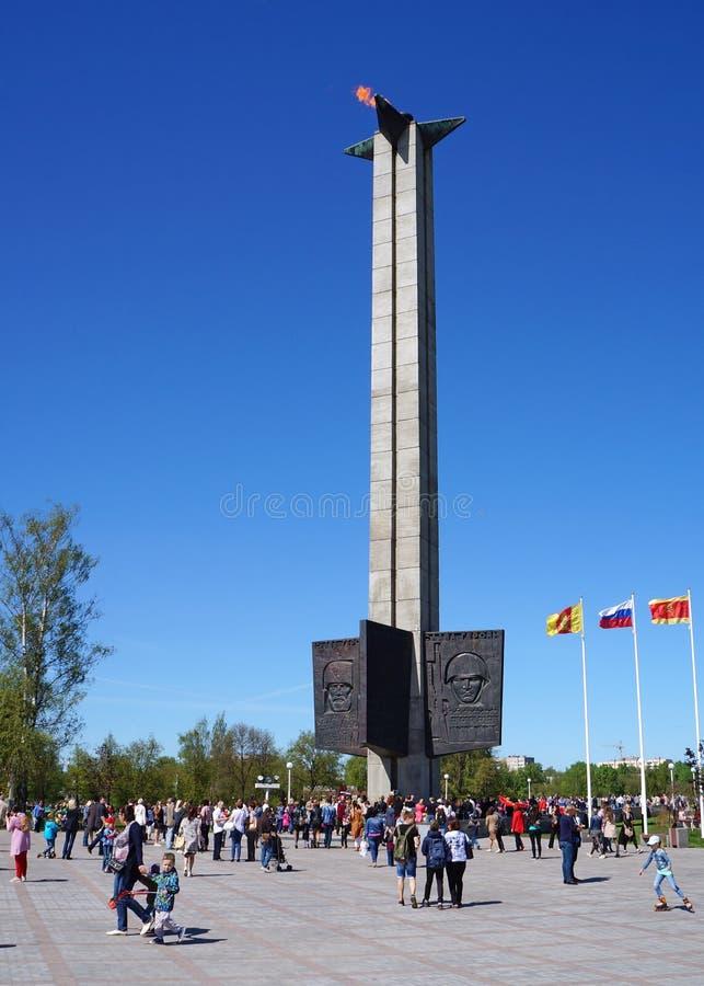 胜利天庆祝 胜利的方尖碑在特维尔州市,俄罗斯的中心 免版税库存照片