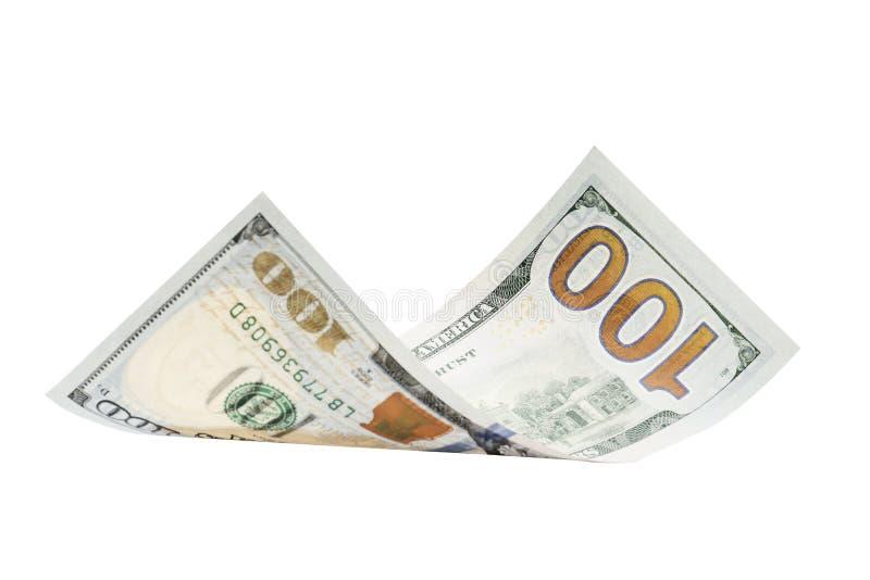 背景美元一百查出一白色 免版税图库摄影