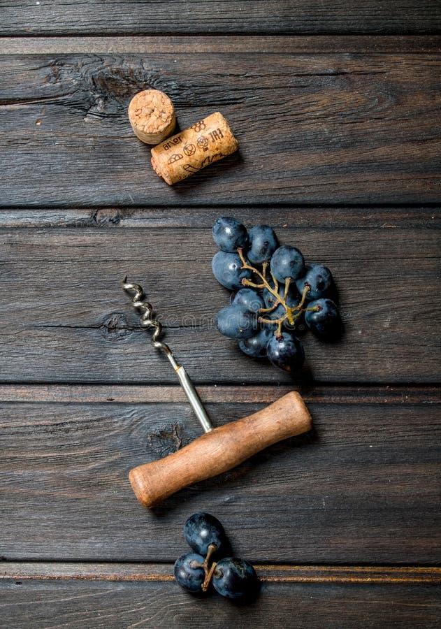背景玻璃红葡萄酒 与拔塞螺旋和黄柏的葡萄 图库摄影