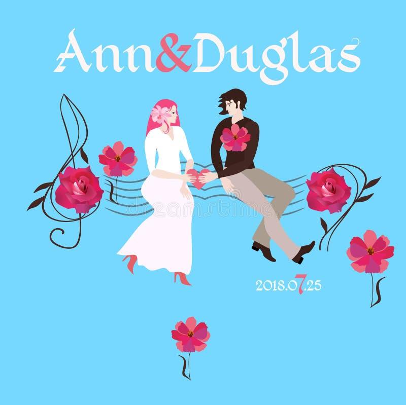 背景高雅重点邀请浪漫符号温暖的婚礼 新娘和新郎在他们的手保留心脏,看彼此,坐长凳以音乐统治者的形式 向量例证