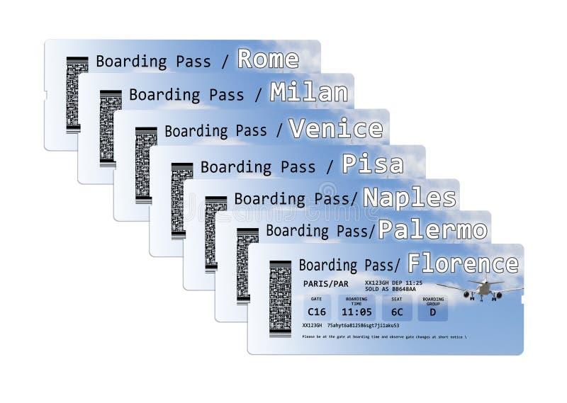 航空公司到最重要的意大利城市的登机牌票-概念图象 免版税图库摄影