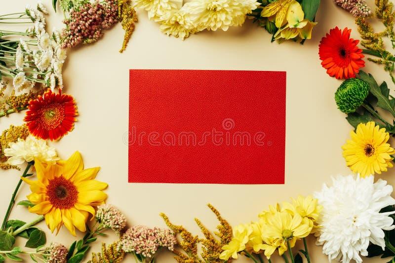 舱内甲板放置与各种各样的美丽的花和空白的红牌 免版税库存图片