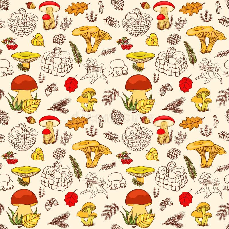蘑菇的无缝的样式在颜色的 库存照片
