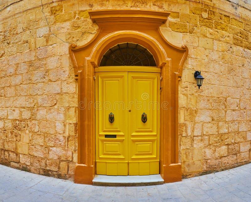 葡萄酒黄色门,拉巴特,马耳他 免版税库存照片