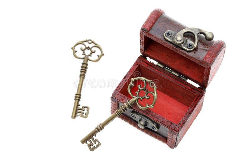 葡萄酒钥匙和老宝物箱 免版税库存照片