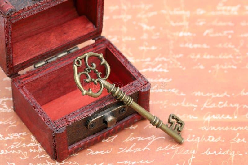 葡萄酒钥匙和老宝物箱 库存照片
