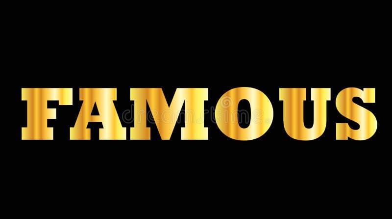 著名发光的金黄大写字母的词 向量例证