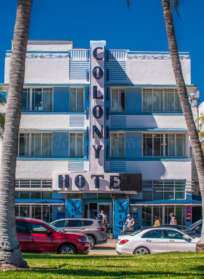 著名殖民地装饰艺术运动旅馆,南海滩 库存照片