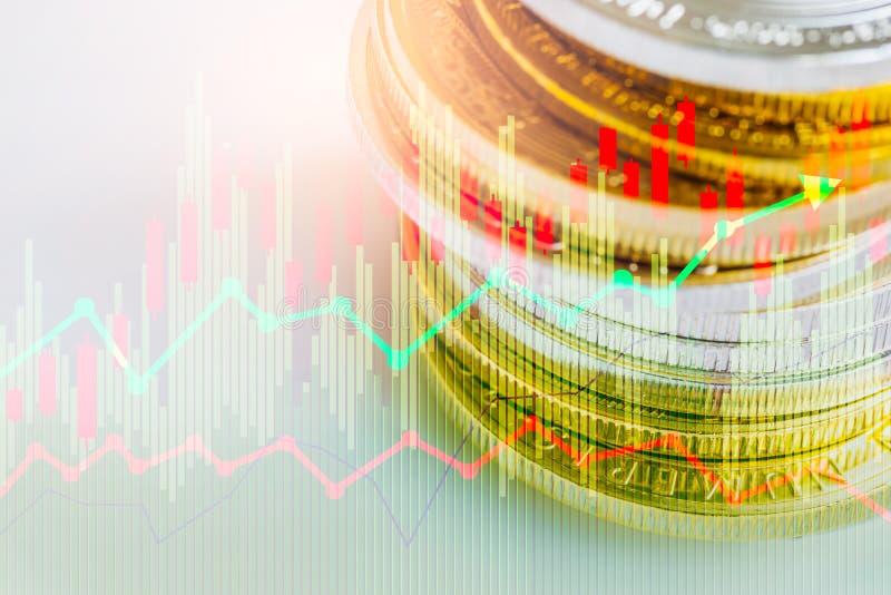 股市或外汇贸易的图表和烛台绘制适用于图表金融投资概念 经济趋向背景为 向量例证