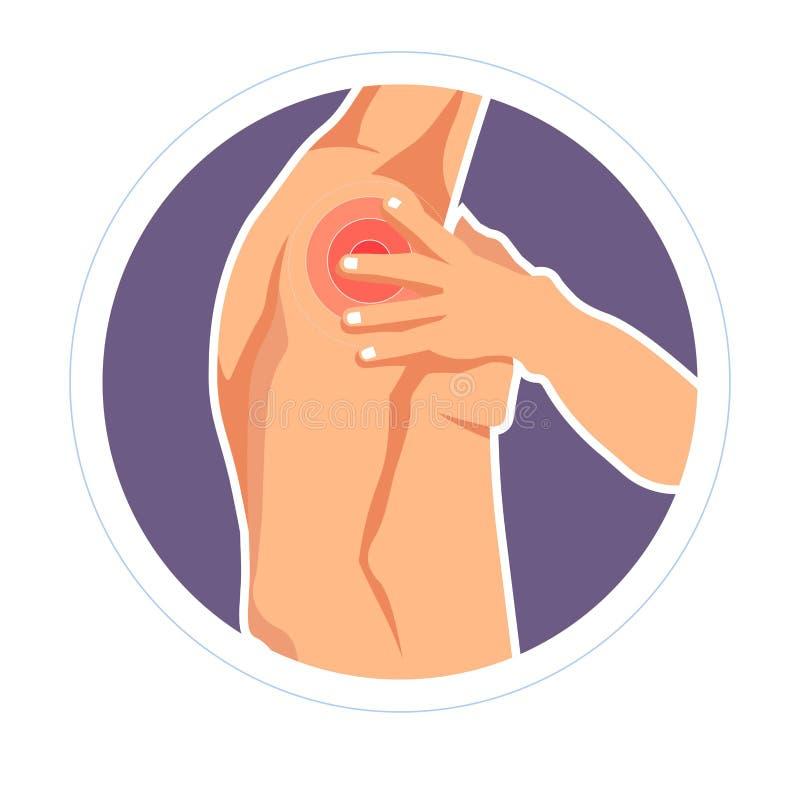 肩伤挫伤痛苦或酸疼被隔绝的男性身体 向量例证