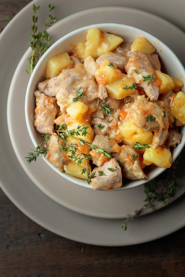 肉炖用土豆、红萝卜和香料 免版税图库摄影