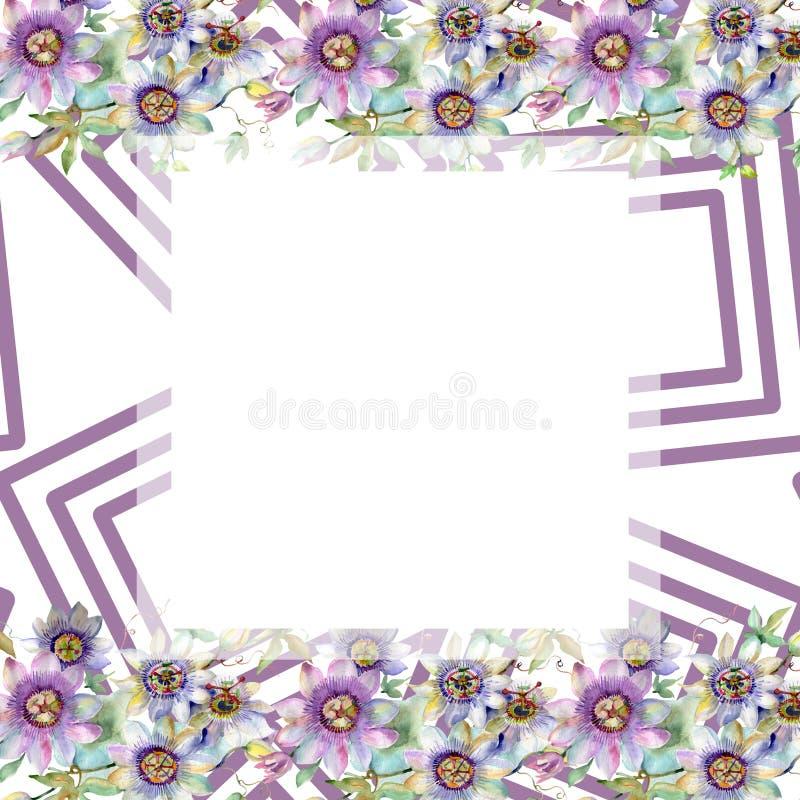 蓝色紫罗兰色花束花卉植物的花 水彩背景例证集合 框架边界装饰品正方形 皇族释放例证
