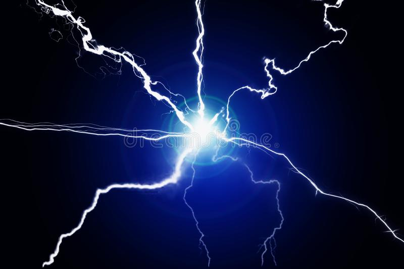蓝色能量电等离子力量哔拍作响的融合 库存图片