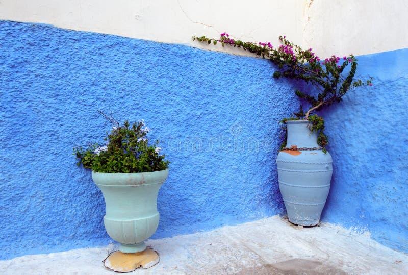 蓝色色的墙壁,拉巴特麦地那,Morocoo 免版税库存图片