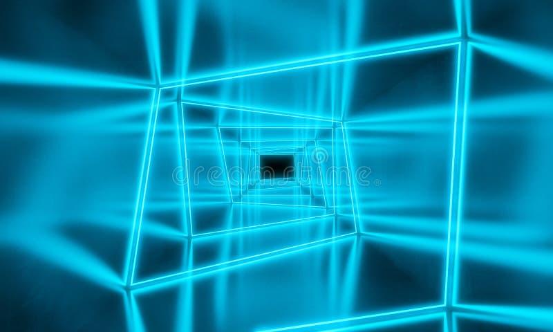 蓝色霓虹灯背景 库存例证
