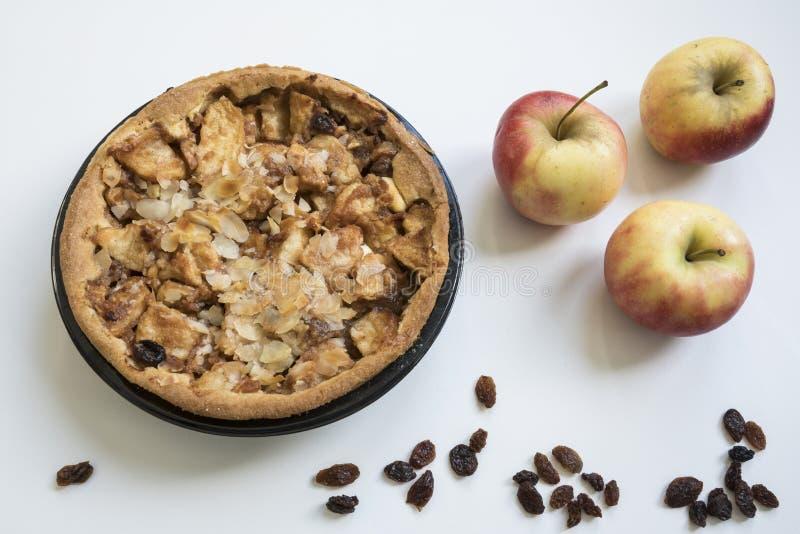 自创苹果饼用用葡萄干 免版税库存照片