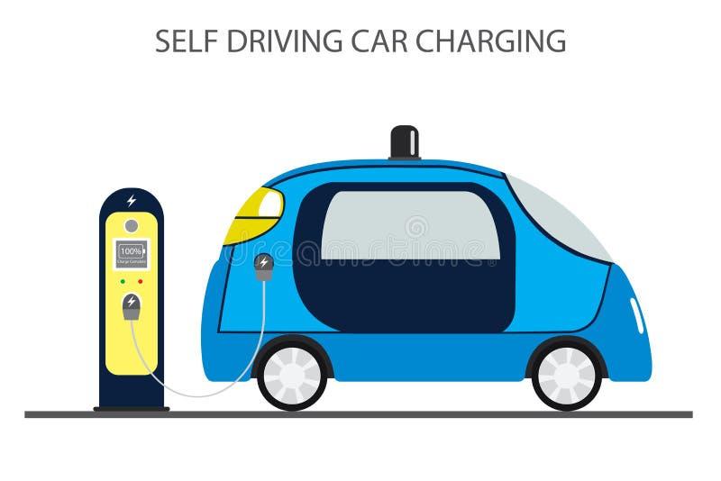 自治汽车,驾驶自动和充电站的自已 皇族释放例证