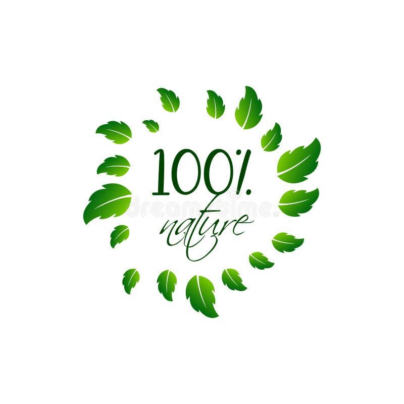 自然产品100生物健康有机标签和优质产品徽章 向量例证