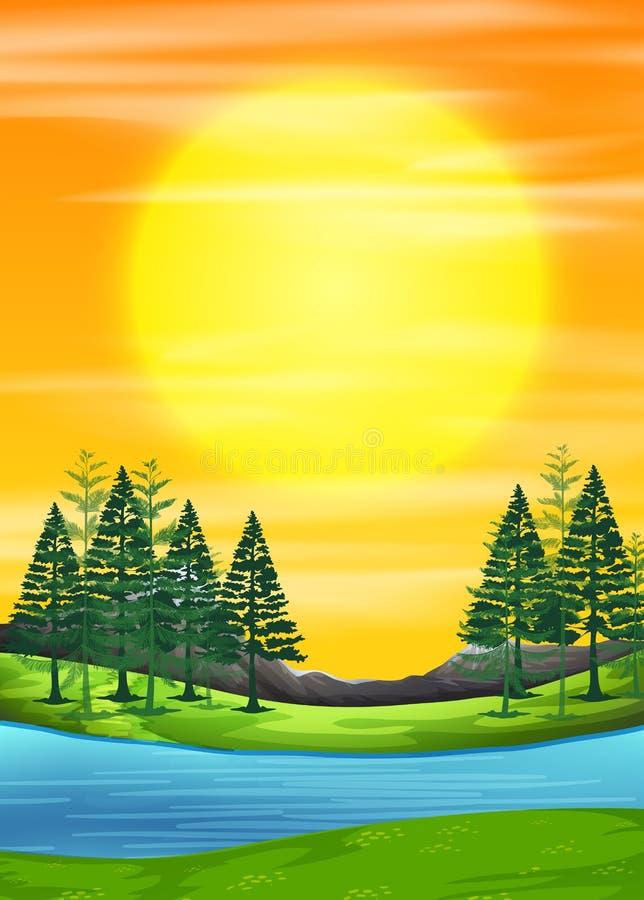 自然日出场面 向量例证