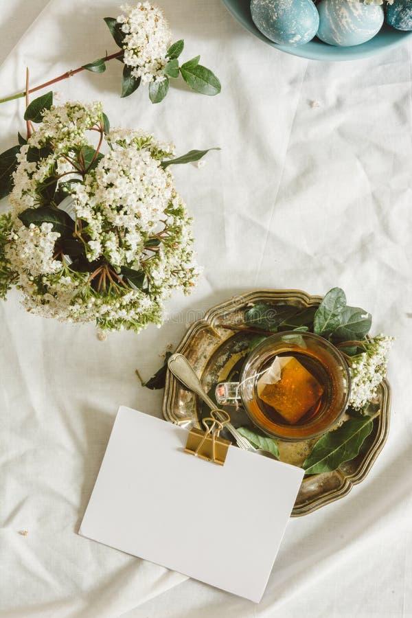 自然洗染了复活节蓝色鸡蛋和茶杯 免版税库存照片