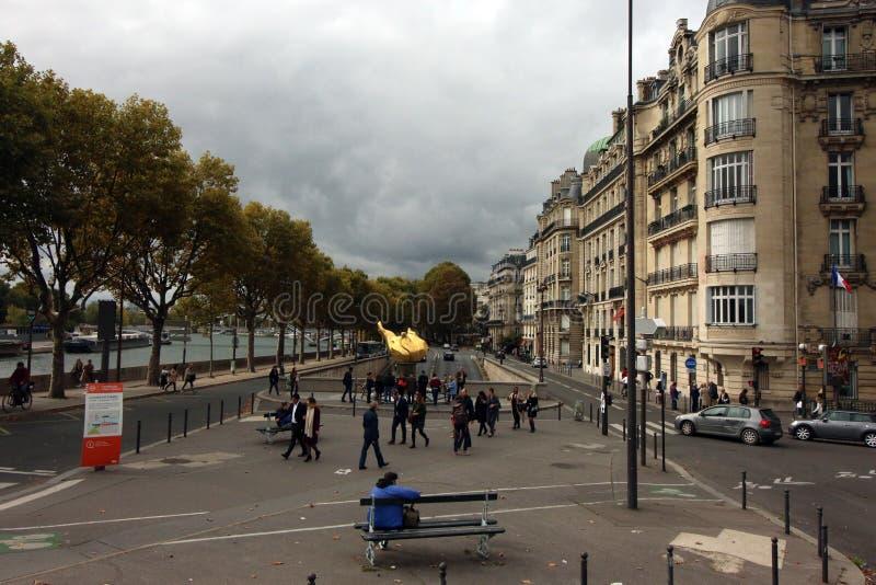 自由女神像火焰,巴黎法国 免版税库存照片