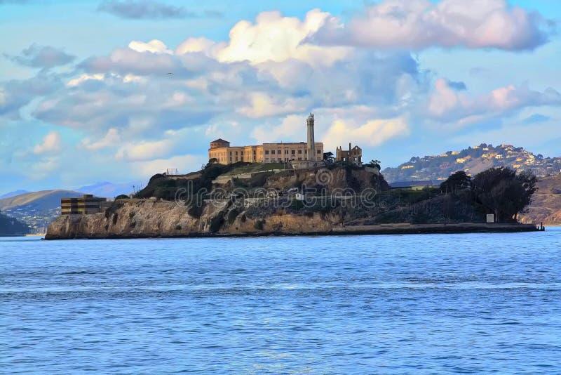 臭名昭著的阿尔卡特拉斯岛监狱海岛 图库摄影