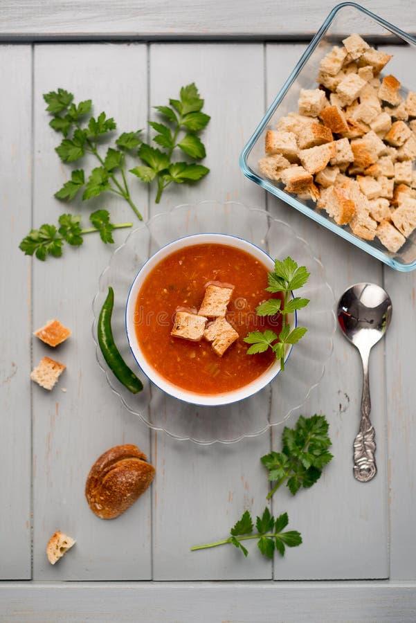 蕃茄汤用油煎方型小面包片 免版税库存图片