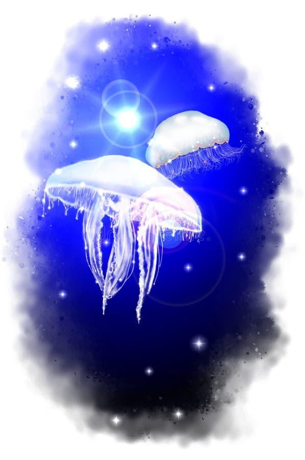 腾飞的水母 向量例证