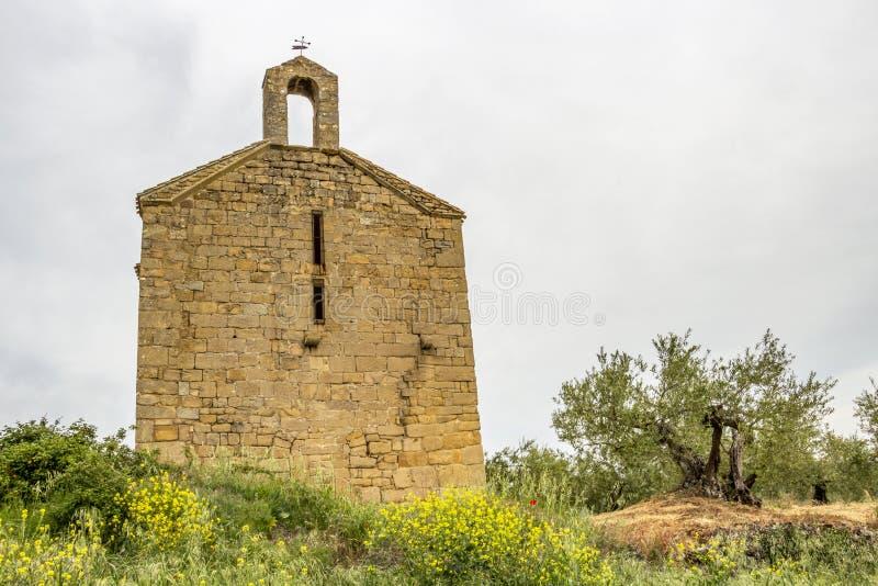 艾米塔区de圣米哥圣米哥,比利亚图埃尔塔,纳瓦拉,西班牙阿康热尔或偏僻寺院  免版税库存图片