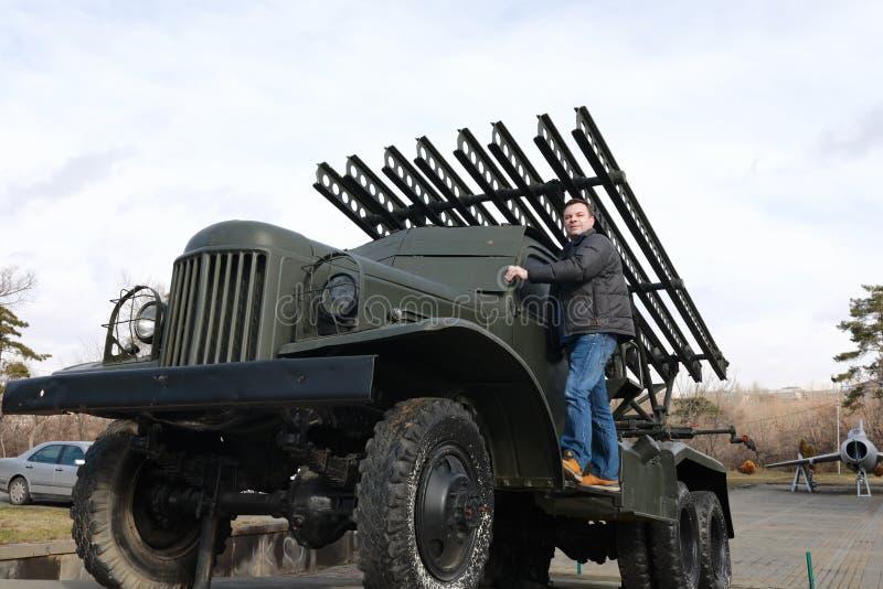 苏联火箭火炮战斗用车辆的人 库存照片