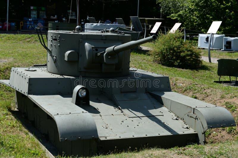 苏联转动被跟踪的火焰喷射器坦克T-46-1在军用设备博物馆在Poklonnaya小山的 库存图片