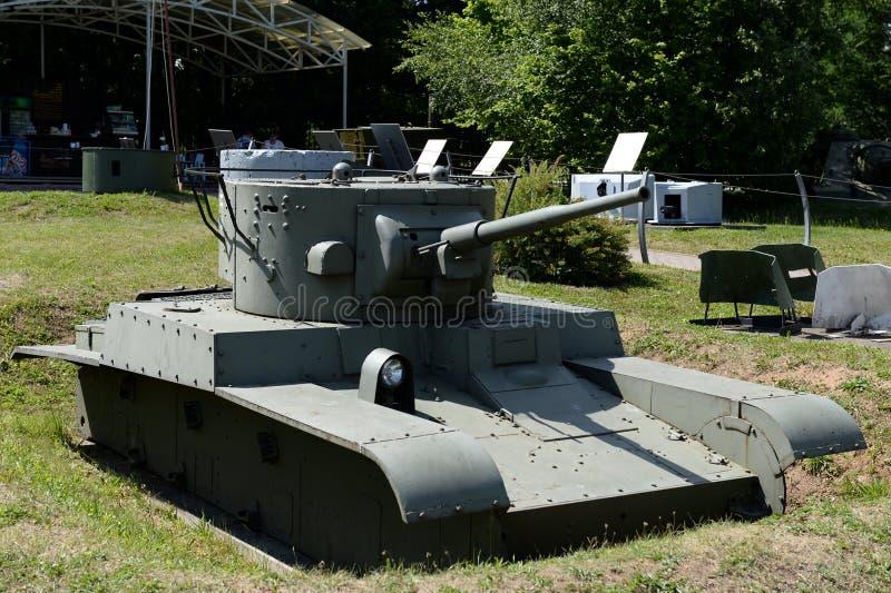 苏联转动被跟踪的火焰喷射器坦克T-46-1在军用设备博物馆在Poklonnaya小山的 免版税库存照片