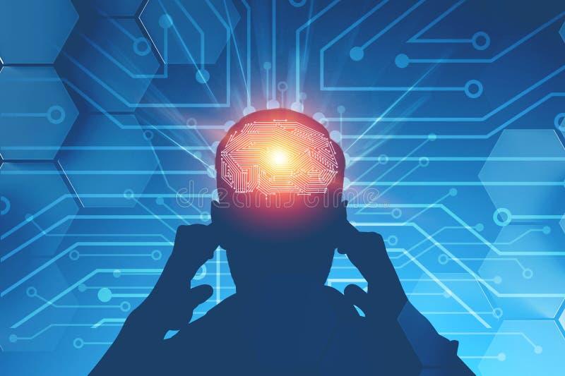 苦苦思索的人,AI概念 免版税图库摄影