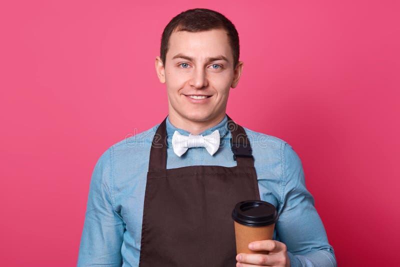 英俊的男性侍者拿着外带的咖啡穿有bowtie的,围裙衬衣,拿着纸杯饮料,自己的咖啡馆,有柔和 库存照片