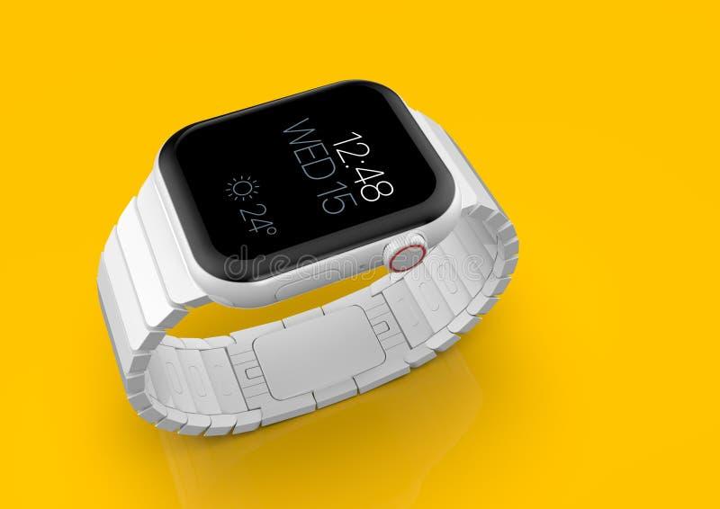 苹果计算机手表4白色陶瓷虚构的谣言smartwatch,大模型 免版税库存图片