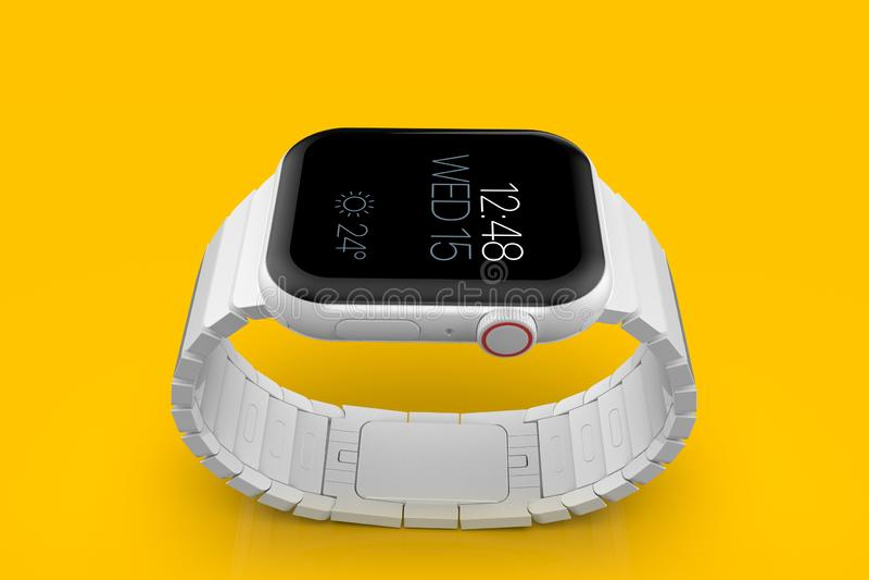 苹果计算机手表4白色陶瓷虚构的谣言smartwatch,大模型 库存图片