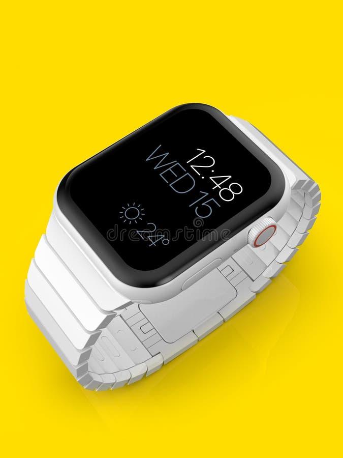 苹果计算机手表4白色陶瓷虚构的谣言smartwatch,大模型 免版税图库摄影