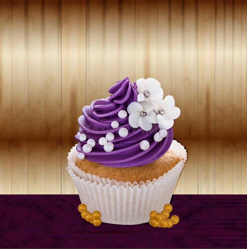 蛋糕现实奶油色传染媒介 库存例证