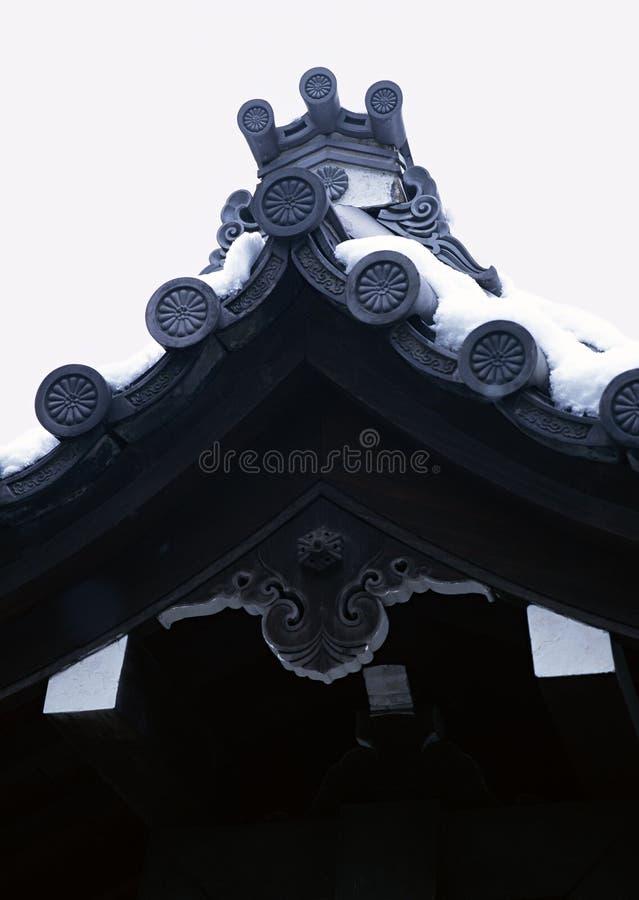 老日本寺庙或塔入口有木屋顶装饰背景 库存图片