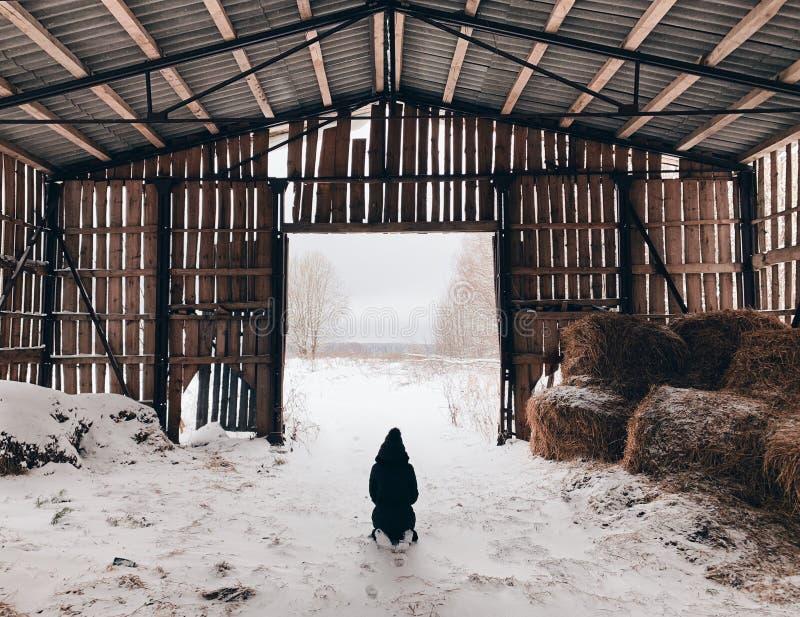 老粮仓在村庄 免版税库存图片