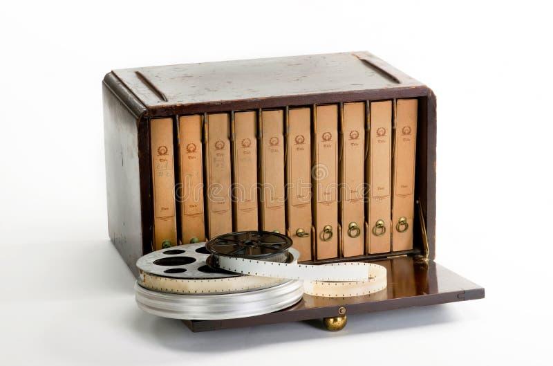 老葡萄酒电影案件和卷轴 免版税库存图片