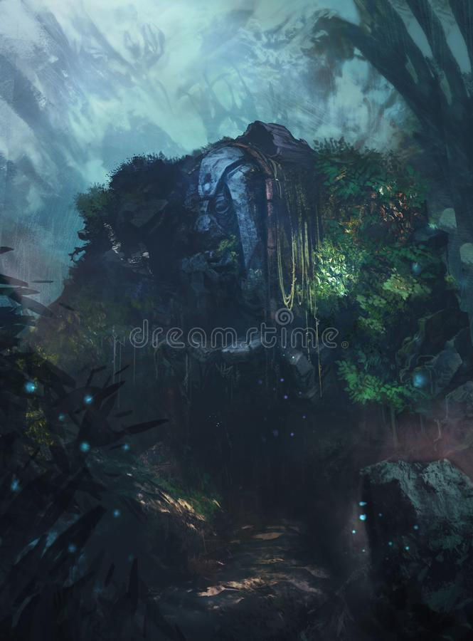 老雕象在森林里 皇族释放例证
