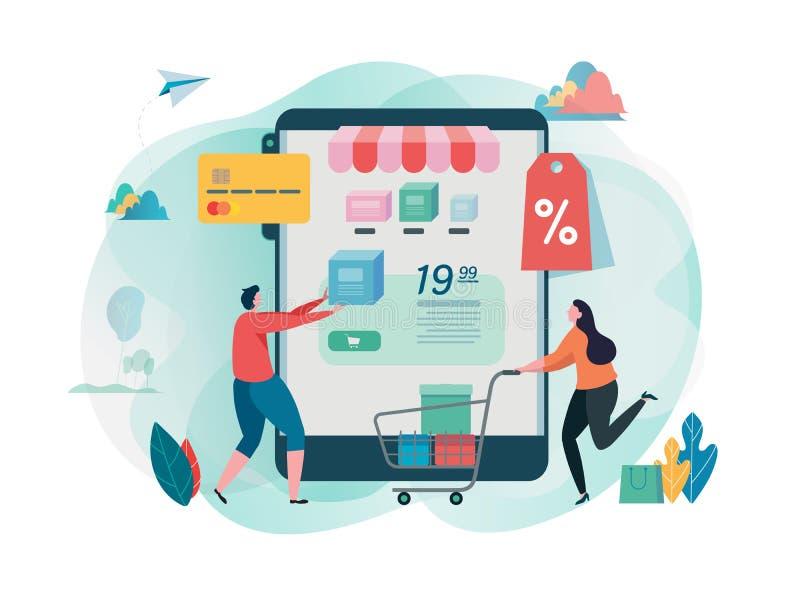 购买网店 购物在机动性 网上商店 互联网营销 网上付款 平的卡通人物图形设计 库存例证