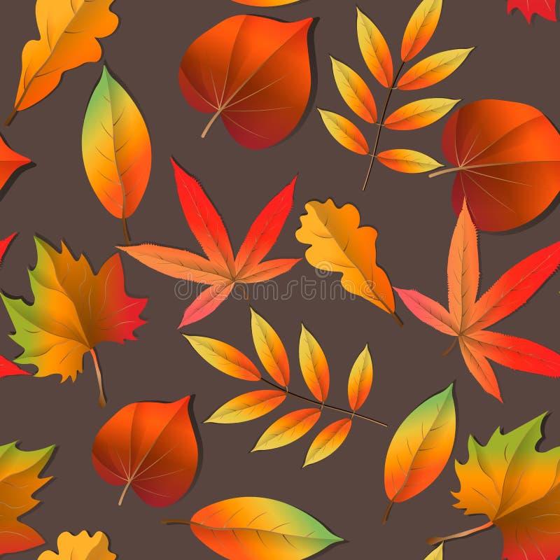 贴墙纸,美好的背景,逗人喜爱,时髦明亮的印刷品 无缝的秋天样式桔子,黄色,棕色红色秋天森林叶子 向量例证