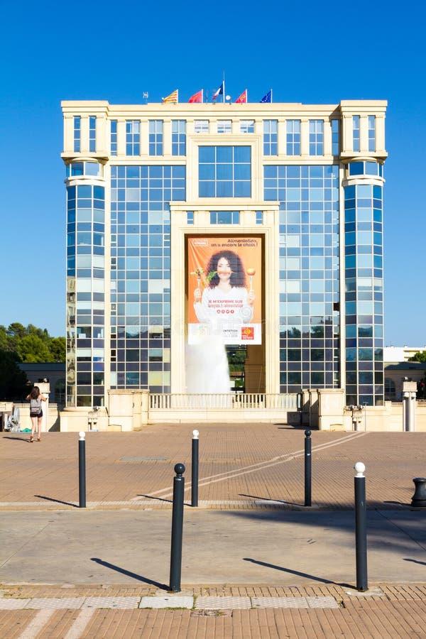蒙彼利埃,法国 一个美好的晴朗的夏天下午的安提歌尼区 免版税库存图片