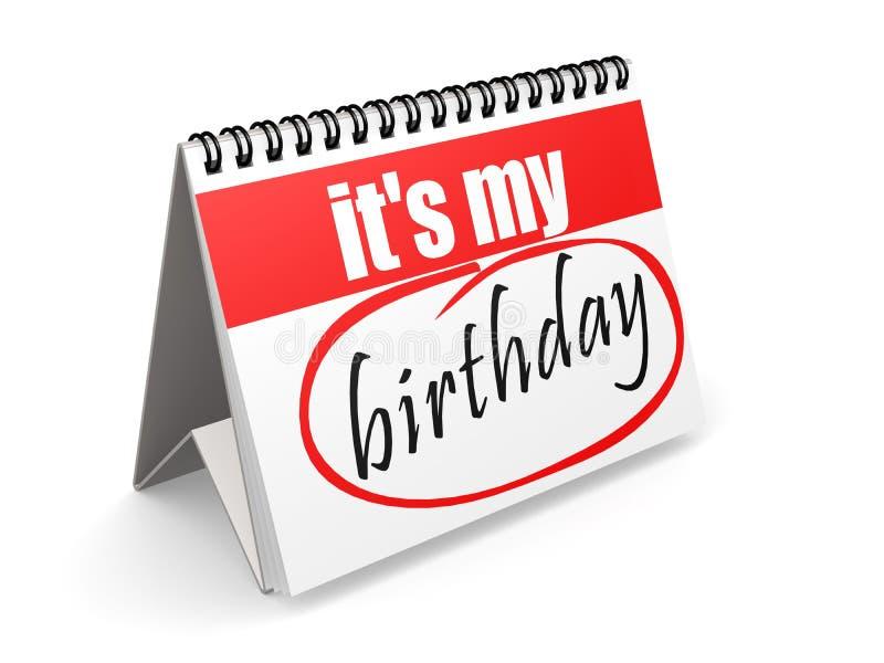 È il mio compleanno sul calendario rosso e bianco illustrazione vettoriale